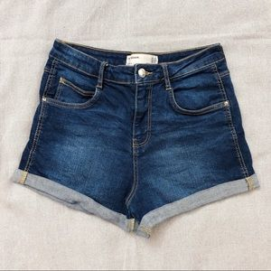 Zara High Rise Mid Wash Denim Shorts Size 2